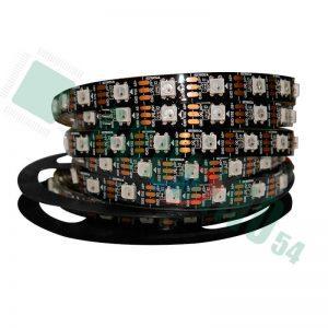 Светодиодная адресная лента WS2812b 60шт/метр, IP65, подложка - чёрная