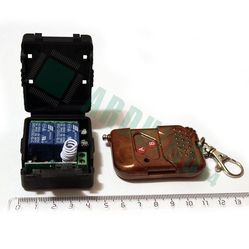 Модуль реле 2 канала 12В 10А беспроводной с пультом управления