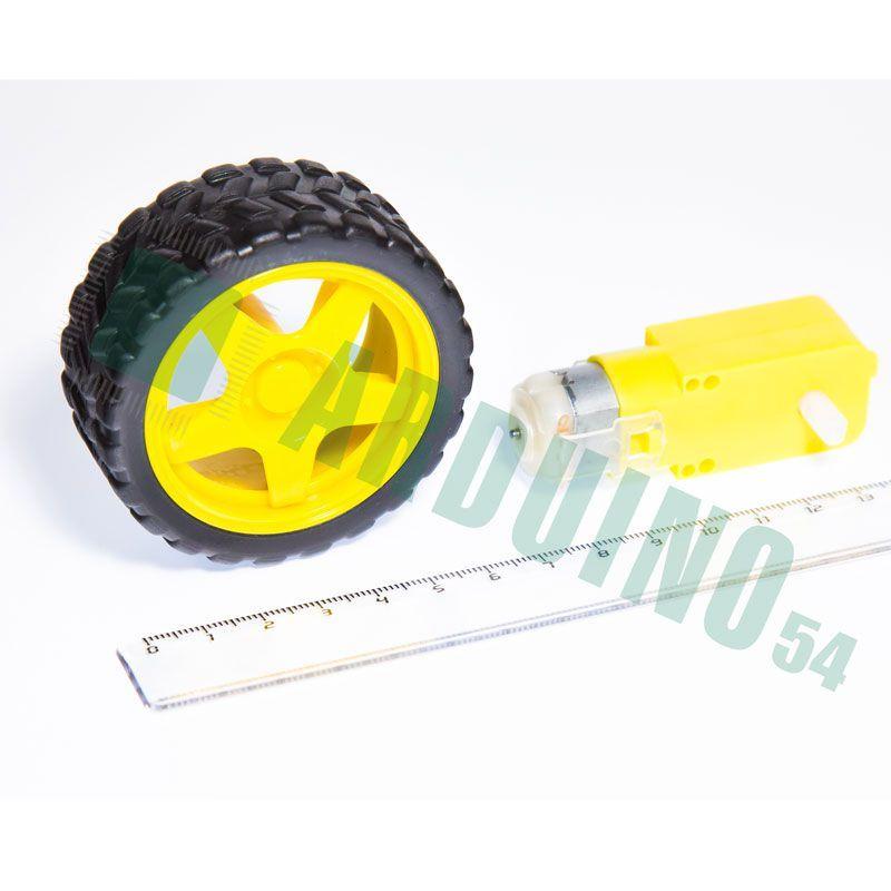 Двигатель постоянного тока с колесом (3-6В 100 об./мин)