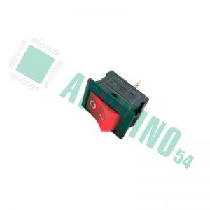 Кнопка красная, выключатель, тумблер 2 положения, 2 контакта