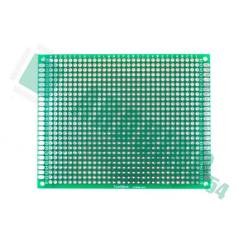 Макетная плата двухсторонняя с металлизацией отверстий (7см*9см)