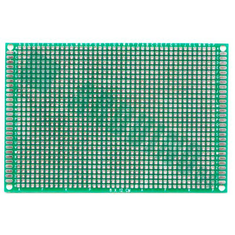 Макетная плата двухсторонняя с металлизацией отверстий (8см*12см)