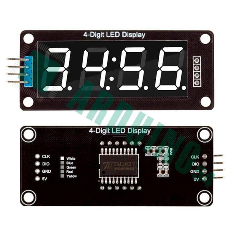 Последовательный 4-разрядный семисегментный LED индикатор с I2C драйвером TM1637 с точками