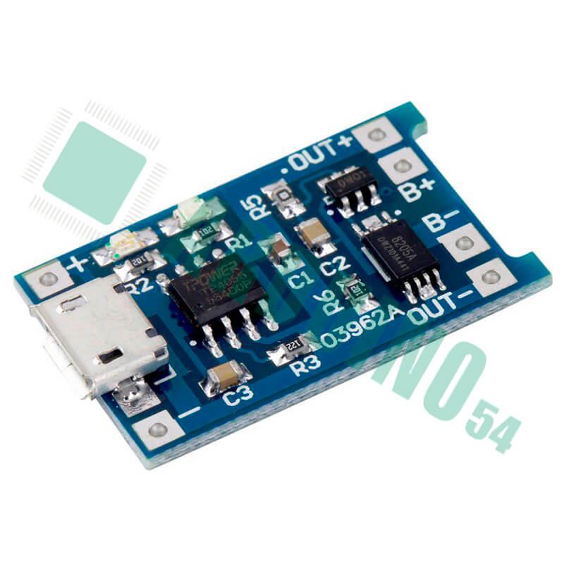 TP4056 Micro USB (для заряда аккумуляторов Li-Pol, Li-Ion) с защитой