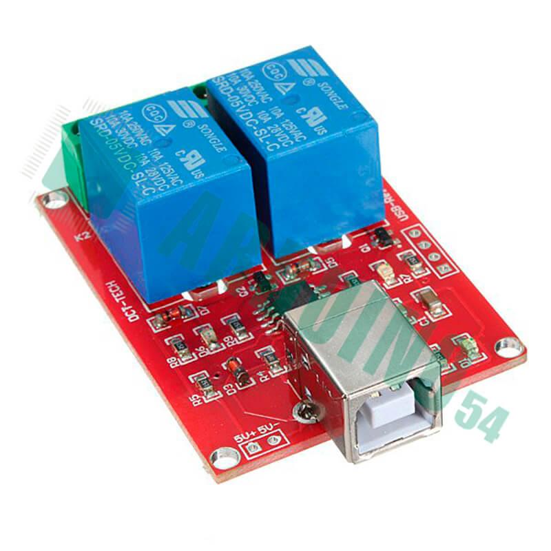 USB реле управление нагрузкой через компьютер на 2 канала