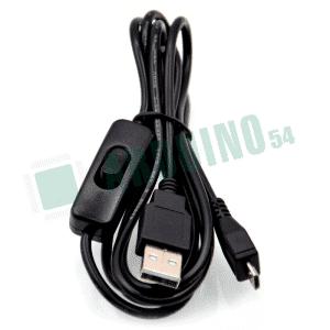 Micro USB кабель с переключателем, черный, 1м