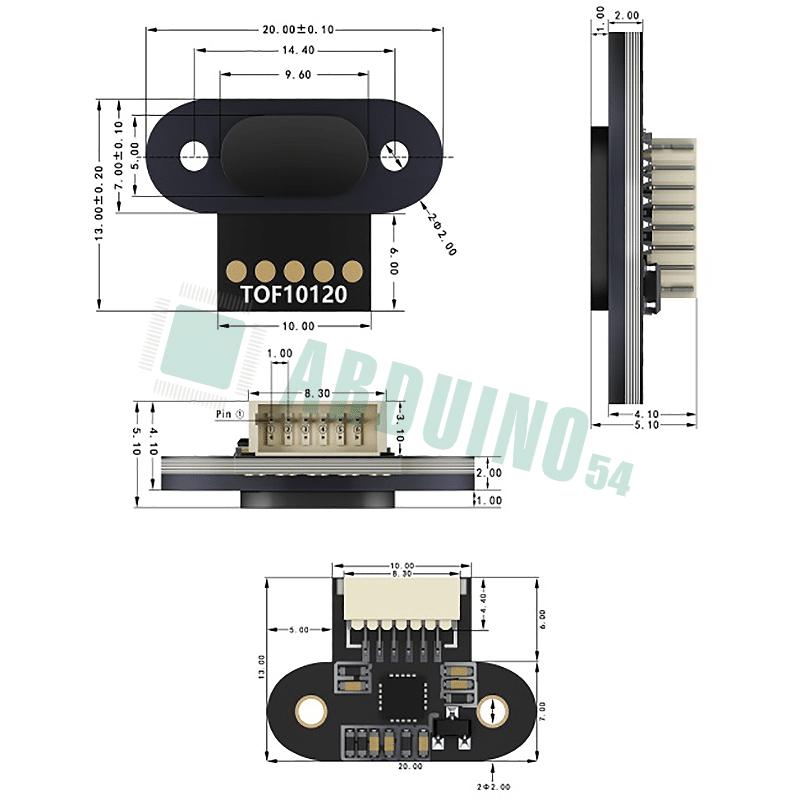 Лазерный сенсор расстояния TOF10120 100-1800 мм I2C 3-5V RS232