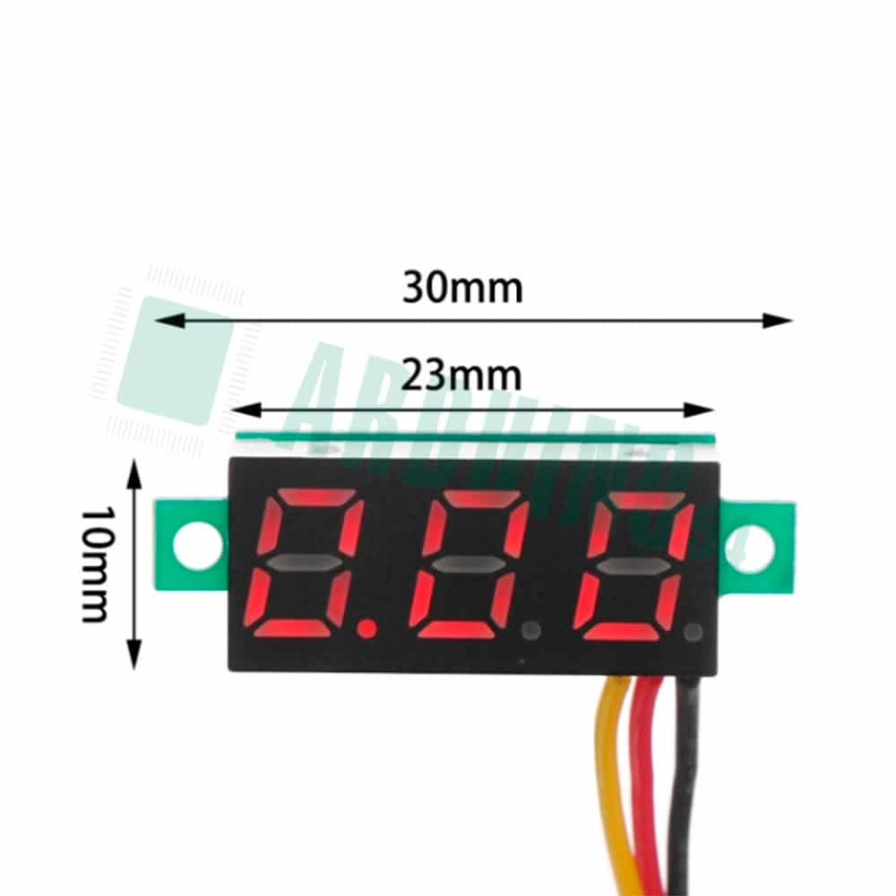 Мини-вольтметр 0.28″ красный 0 – 100В
