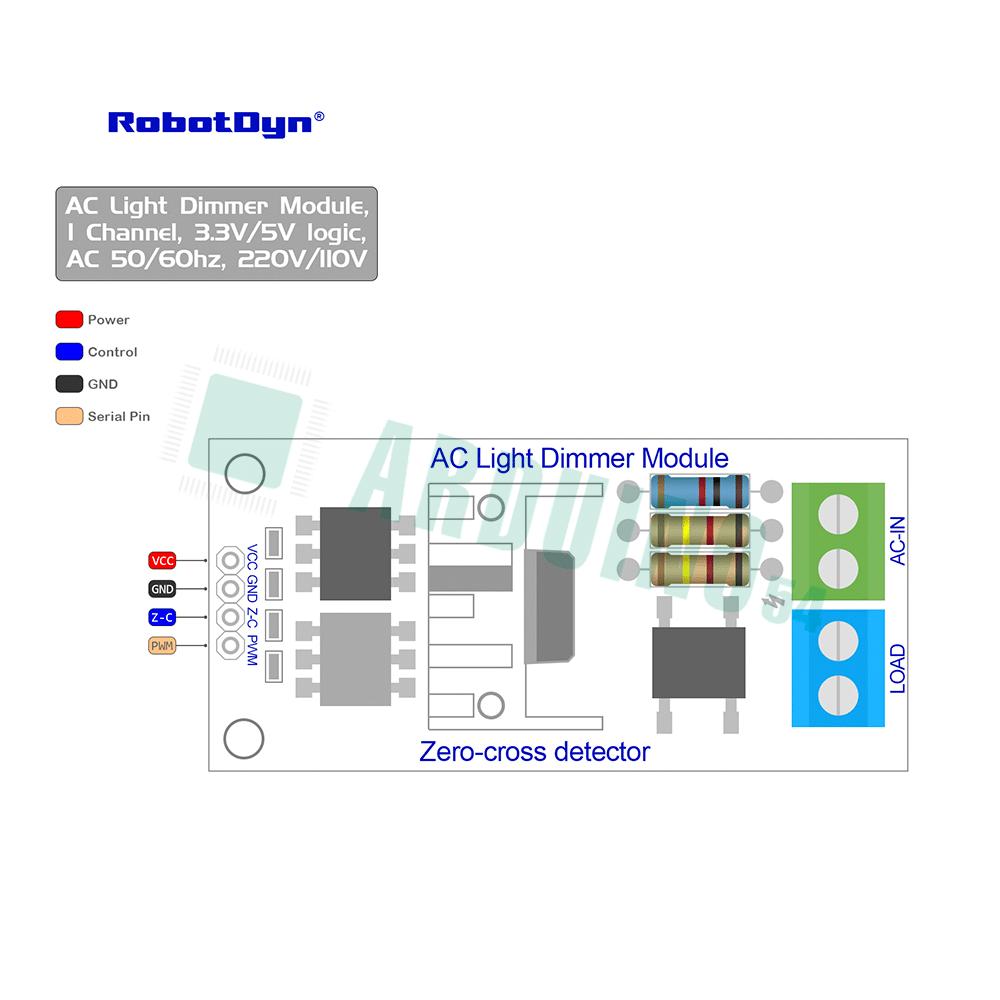 Модуль диммера переменного тока, 1 канал, 3.3V/5V logic, AC 50/60hz, 220V/110V