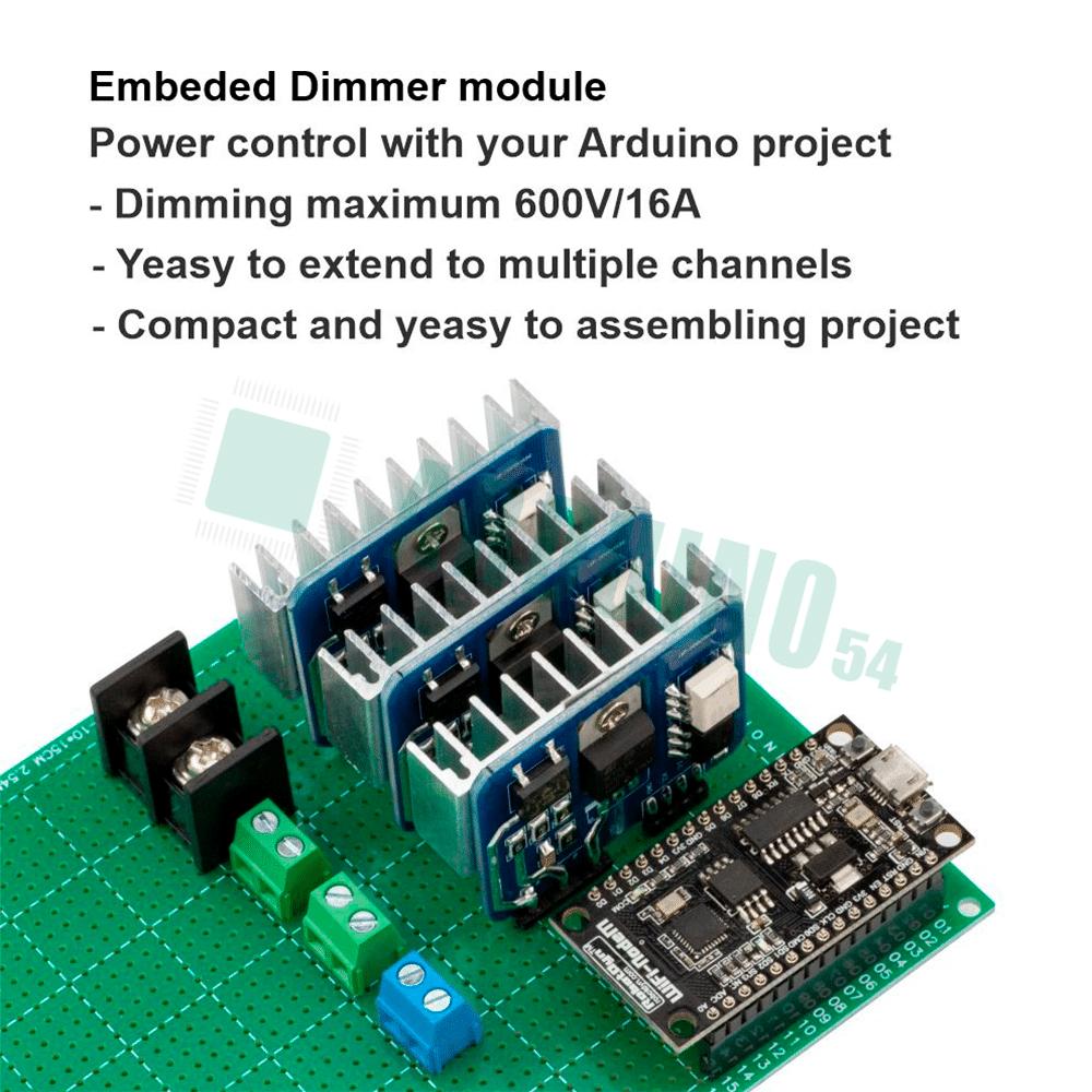 Встроенный диммерный модуль, 1 канал, 3.3V/5V logic, 16A, 600V