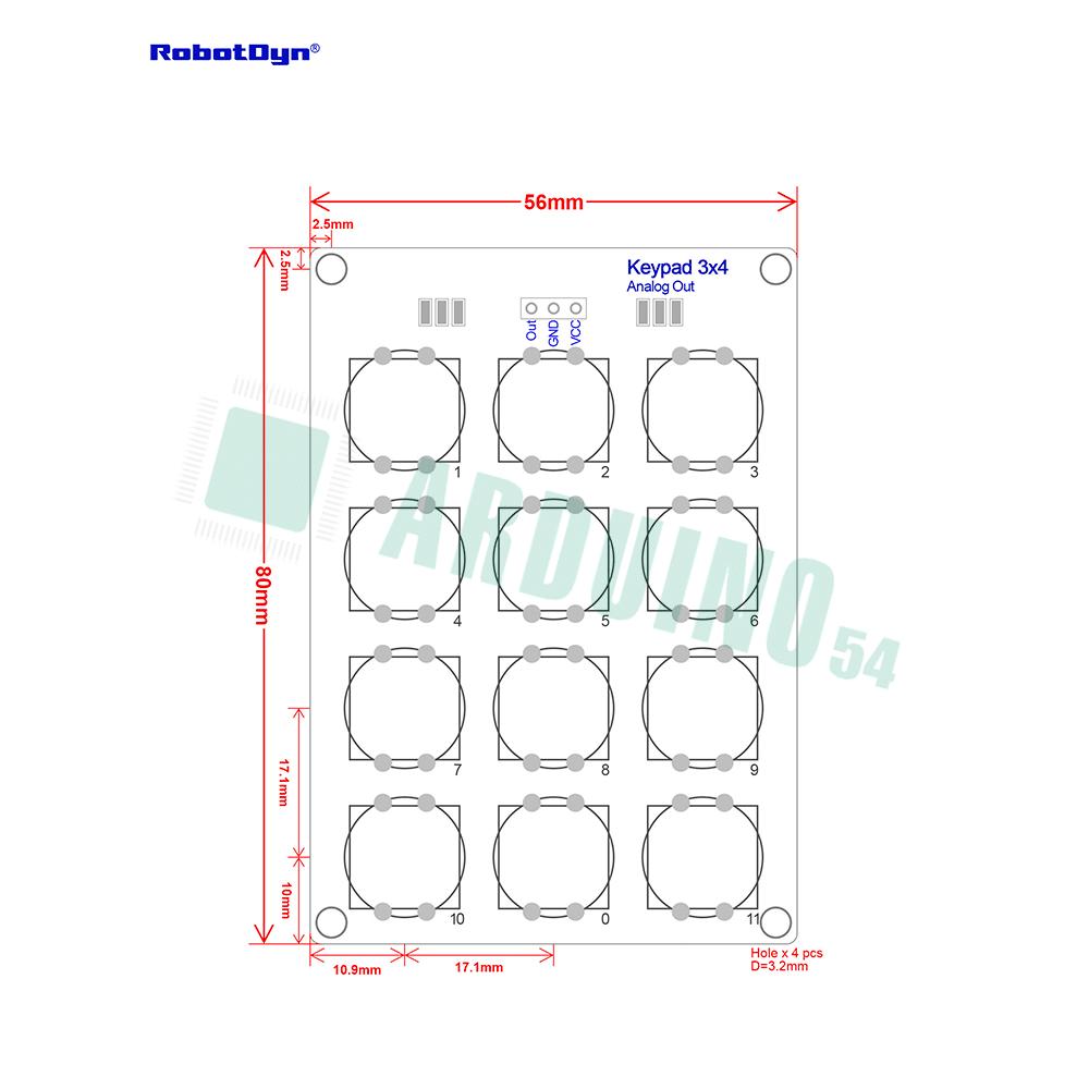 Модуль кнопочной клавиатуры 3х4 (в сборе)
