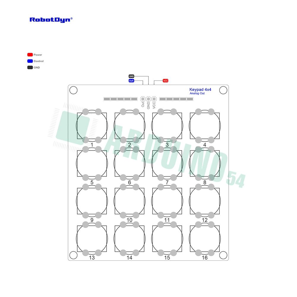Модуль кнопочной клавиатуры 4х4 (в сборе)