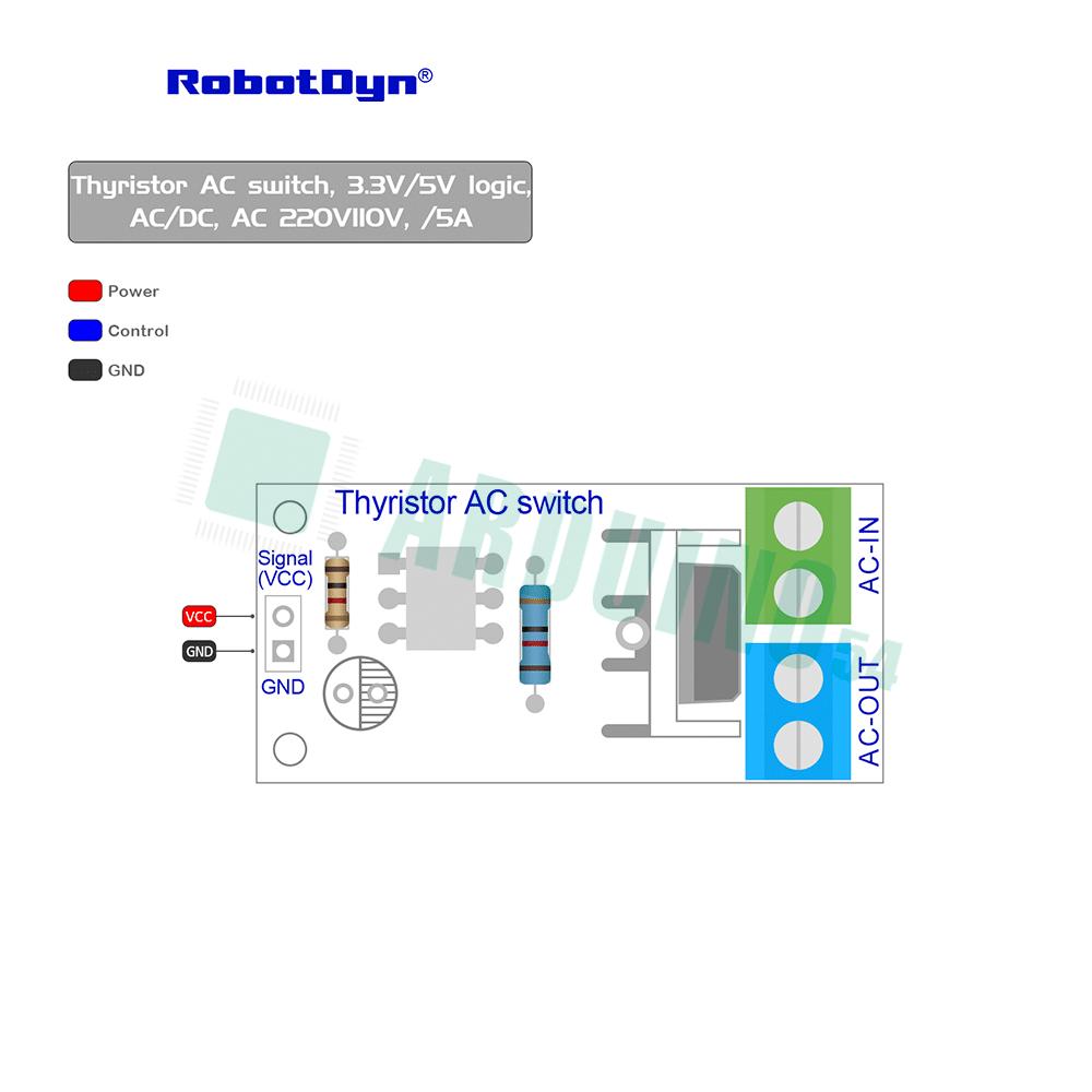Тиристорный переключатель переменного тока, 3.3V/5V logic, AC/DC, AC 220V110V, /5A