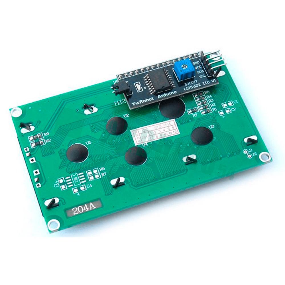 LCD 20×4 2004 дисплей синий + LCD конвертор с IIC/I2C spi