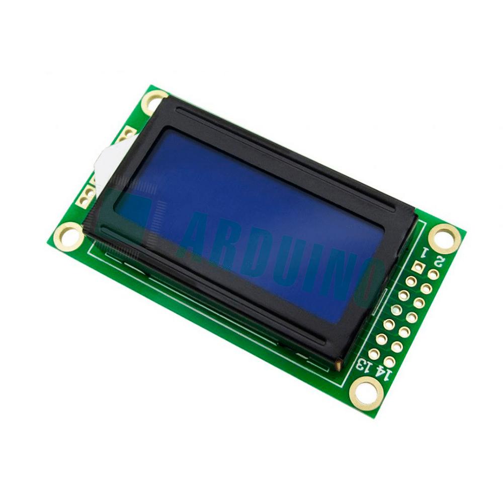 LCD 8×2 0802 дисплей синий