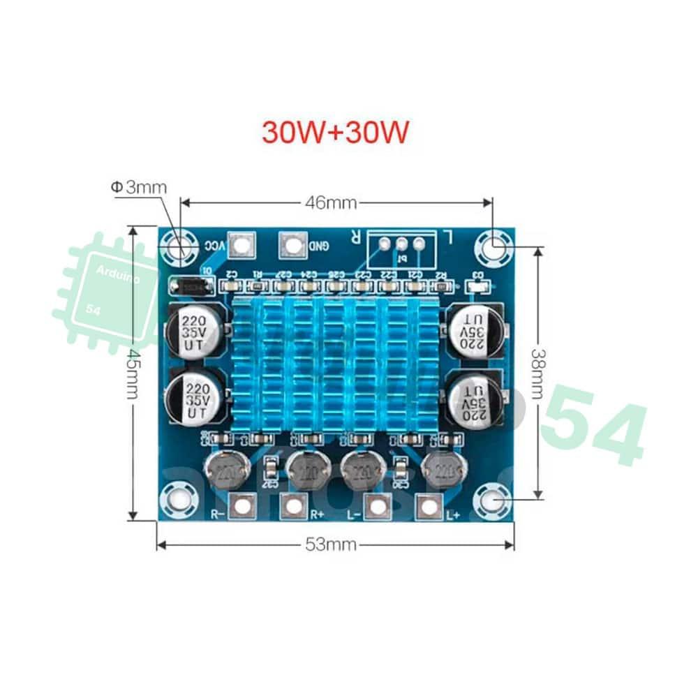 XH-A232 стерео усилитель 2.0 на базе TPA3110 DC 8-26V 3A 30w+30w