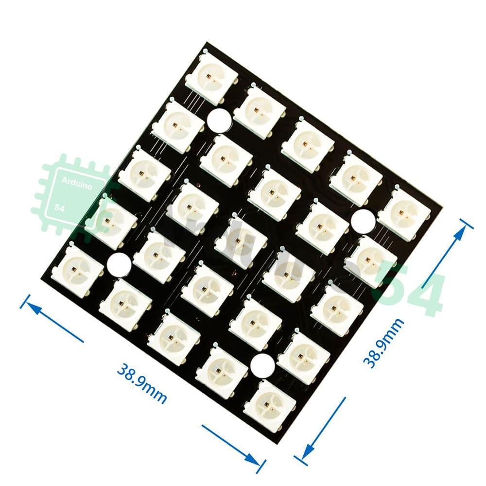 Модуль из 25 RGB светодиодов WS2812 5×5 (квадрат)