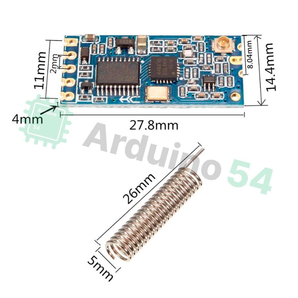 HC-12 радиомодуль 433.4 – 473МГц (до 1000м с антенной) (SI4463)