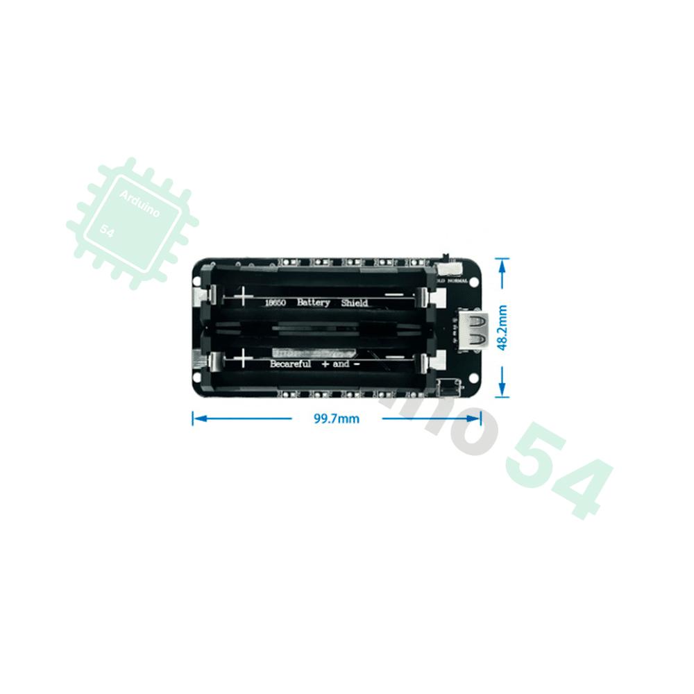 Плата питания от 2х аккумуляторов 18650 V8 (18650 Battery Shield V8)