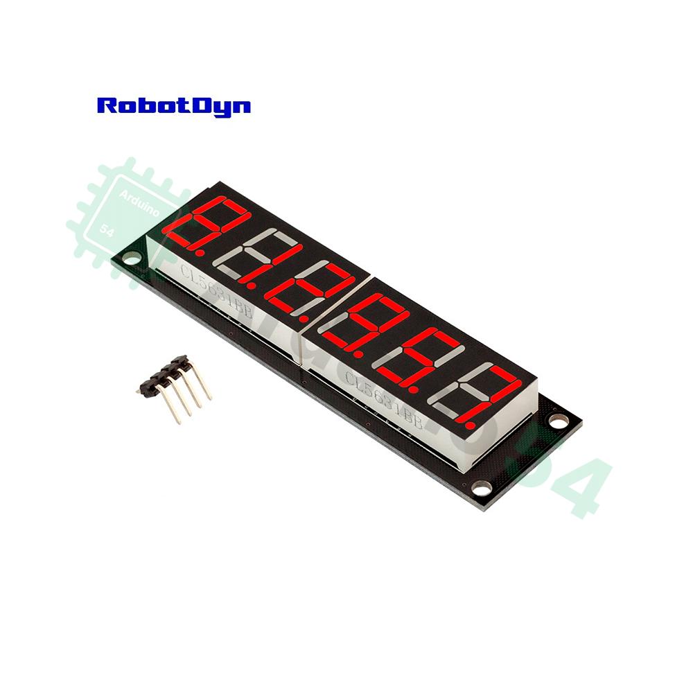 6-значный светодиодный дисплей, 7 сегментов, TM1637 (красный)